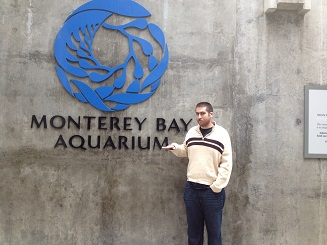 My son  at the Monterey Bay Aquarium